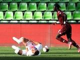 Paris Saint-Germain striker Kylian Mbappe goes down injured against Metz on April 24, 2021