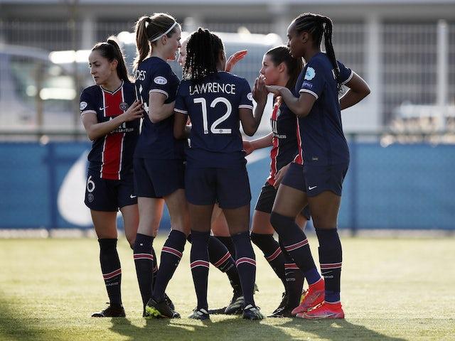 PSG Women celebrate scoring on March 9, 2021