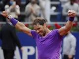 Rafael Nadal celebrates winning the Barcelona Open on April 25, 2021