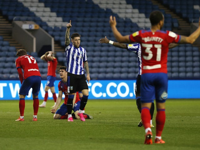 Sheffield Wednesday's Josh Windass celebrates after scoring their first goal against Blackburn Rovers in the Championship on April 20, 2021