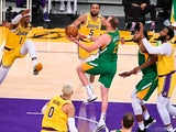 Utah Jazz guard Joe Ingles moves to the basket against Los Angeles Lakers on April 20, 2021