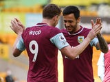 Burnley's Chris Wood celebrates scoring against Wolverhampton Wanderers in the Premier League on April 25, 2021