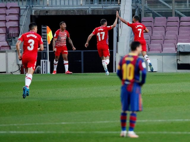 Granada's Darwin Machis celebrates scoring against Barcelona in La Liga on April 29, 2021