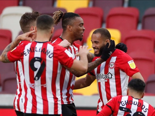 Brentford's Bryan Mbeumo celebrates scoring their first goal against Rotherham United in the Championship on April 27, 2021