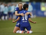 Chelsea Women's Ji So-yun celebrates scoring against Bayern Munich Women on May 2, 2021