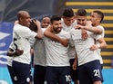 Manchester City's Sergio Aguero celebrates scoring their first goal against Crystal Palace in the Premier League on May 1, 2021