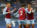 Aston Villa's Ollie Watkins celebrates scoring their first goal against Everton in the Premier League on May 1, 2021