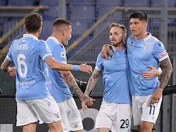 Lazio's Joaquin Correa celebrates scoring against AC Milan in Serie A on April 26, 2021