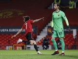 Manchester United's Edinson Cavani celebrates scoring against Roma in the Europa League on April 29, 2021