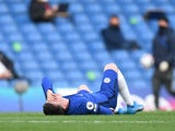 Chelsea's Mason Mount goes down injured against Fulham in the Premier League on May 1, 2021