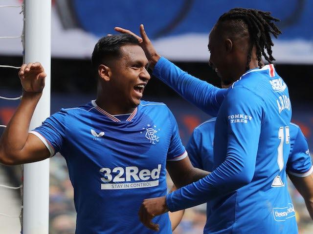 Rangers striker Alfredo Morelos celebrates scoring against Celtic in the Scottish Premiership on May 2, 2021