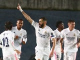 Karim Benzema celebrates scoring for Real Madrid against Chelsea in the Champions League on April 27, 2021