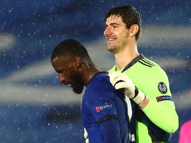 Real Madrid's Thibaut Courtois with Chelsea's Antonio Rudiger after the match on April 27, 2021