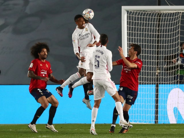 Eder Militao in action for Real Madrid against Osasuna in La Liga on May 1, 2021
