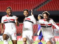 Sao Paulo's Reinaldo celebrates scoring their second goal with teammates on April 30, 2021