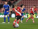 Southampton's James Ward-Prowse scores their first goal against Leicester City in the Premier League on April 30, 2021