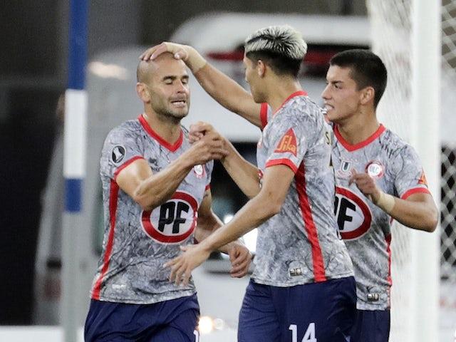 Union La Calera's Sebastian Saez scores their first goal on April 27, 2021