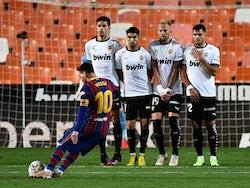 Barcelona's Lionel Messi scores against Valencia in La Liga on May 2, 2021