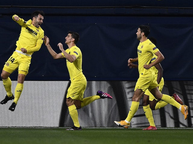 Villarreal's Manu Trigueros celebrates scoring against Arsenal in the Europa League on April 29, 2021