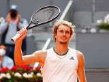 Germany's Alexander Zverev celebrates winning his semi final match against Austria's Dominic Thiem at the Madrid Open on May 8, 2021