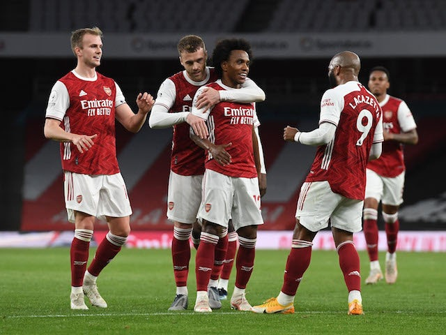 Arsenal's Willian celebrates scoring against West Bromwich Albion in the Premier League on May 9, 2021