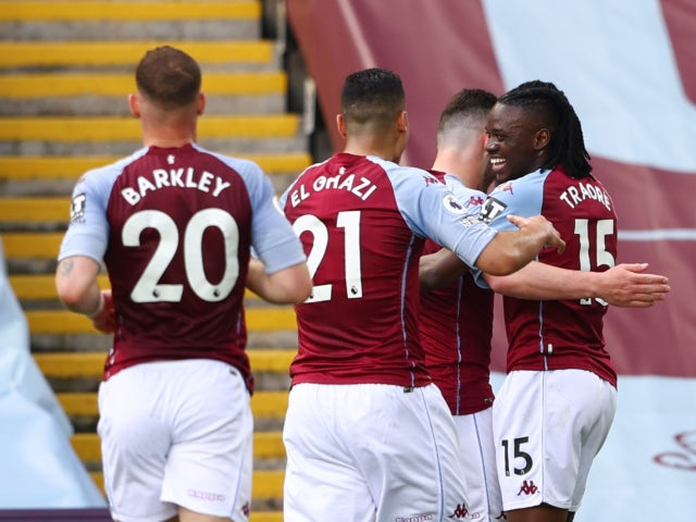 Aston Villa's Bertrand Traore celebrates scoring their first goal against Manchester United in the Premier League on May 9, 2021