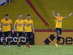 Barcelona's (Ecuador) Carlos Garces celebrates scoring their first goal on May 5, 2021