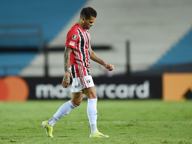 Sao Paulo's Dani Alves walks off the pitch after sustaining an injury ON MAY 5, 2021
