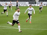 Derby County's Patrick Roberts celebrates after scoring their second goal on May 8, 2021