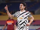 Manchester United's Edinson Cavani celebrates scoring against Roma in the Europa League on May 6, 2021