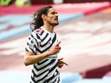 Manchester United's Edinson Cavani celebrates scoring their third goal on May 9, 2021