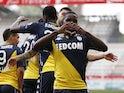 Monaco's Eliot Matazo celebrates scoring their first goal on May 9, 2021