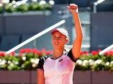 Elise Mertens celebrates beating Simona Halep at the Madrid Open on May 4, 2021