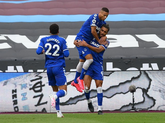 Everton's Dominic Calvert-Lewin celebrates scoring their first goal with Richarlison on May 9, 2021