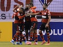 Flamengo's Bruno Lopes celebrates scoring their second goal with teammates on May 4, 2021