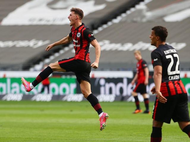 Eintracht Frankfurt's Ajdin Hrustic celebrates scoring their first goal on May 9, 2021
