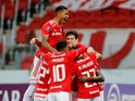 Internacional's Edenilson celebrates scoring their second goal with teammates in May 2021