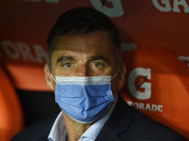 Racing Club coach Juan Ignacio Pizzi before the match on May 5, 2021