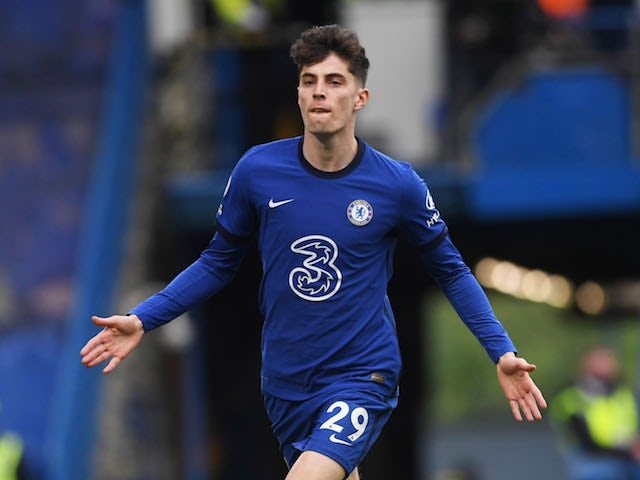 Chelsea's Kai Havertz celebrates scoring their second goal on May 1, 2021