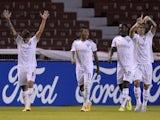 LDU Quito's Luis Amarilla celebrates scoring their second goal on May 4, 2021