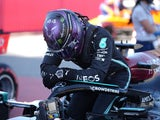 Mercedes' Lewis Hamilton after qualifying in pole position for the Spanish Grand Prix on May 8, 2021
