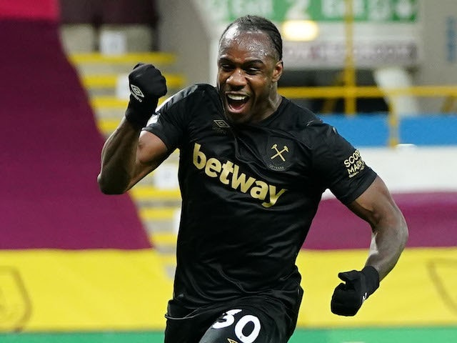 West Ham United's Michail Antonio celebrates scoring their second goal on May 3, 2021