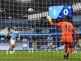 Manchester City's Sergio Aguero misses a penalty against Chelsea in the Premier League on May 8, 2021