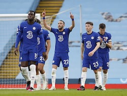 Chelsea's Hakim Ziyech celebrates scoring against Manchester City in the Premier League on May 8, 2021