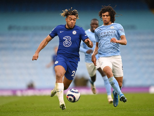 Chelsea's Reece James in action with Manchester City's Nathan Ake in the Premier League on May 8, 2021