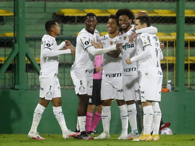 Palmeiras' Rony celebrates scoring their first goal with teammates on May 4, 2021