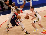 Washington Wizards guard Russell Westbrook passes the ball against the Indiana Pacers on May 4, 2021
