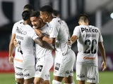 Santos' Angelo Gabriel celebrates scoring their fifth goal with teammates on May 4, 2021