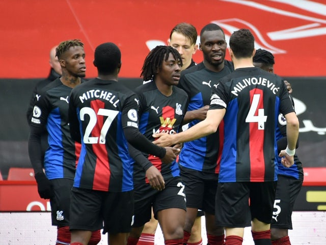 Crystal Palace's Christian Benteke celebrates scoring their first goal against Sheffield United in the Premier League on May 8, 2021