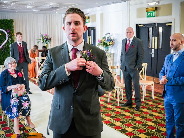 Callum at the altar on EastEnders on May 10, 2021